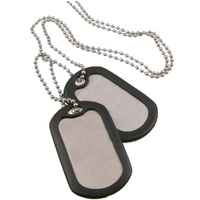 SILVER U.S.A STYLE DOG TAGS WITH CHAIN ONLY