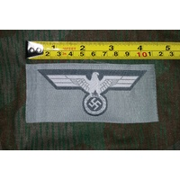 WW2 GERMAN UNIFORM BEVO EAGLE BADGE - LIGHT GREY